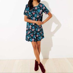 Loft floral short sleeve swing dress round neck